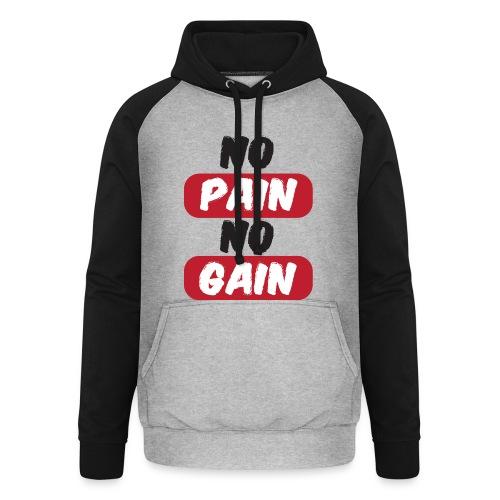 no pain no gain t shirt design fitness - Felpa da baseball con cappuccio unisex