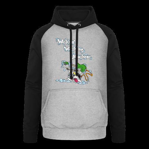 Wicked Washing Machine Cartoon and Logo - Unisex baseball hoodie