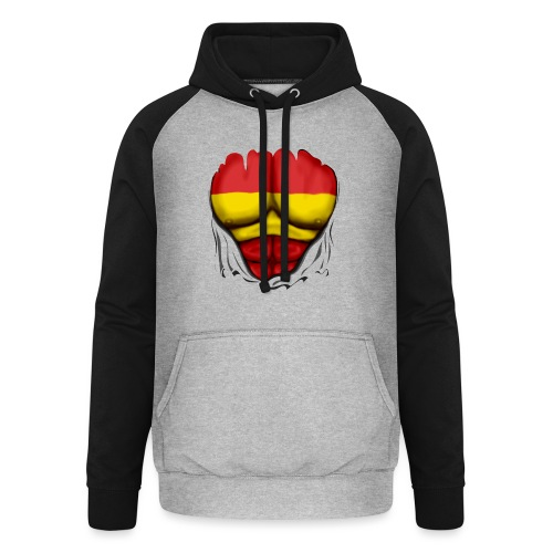 España Flag Ripped Muscles six pack chest t-shirt - Unisex Baseball Hoodie
