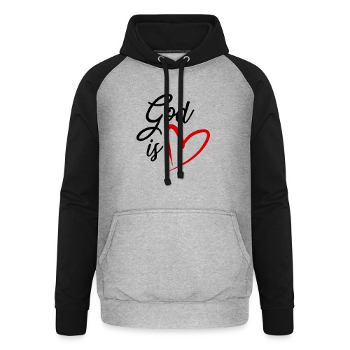 God is love 2N - Felpa da baseball con cappuccio unisex