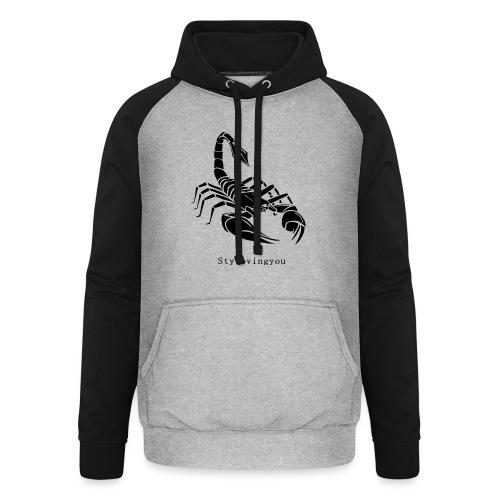 Scorpion noir - Sweat-shirt baseball unisexe