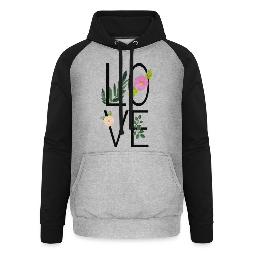 Love Sign with flowers - Unisex Baseball Hoodie