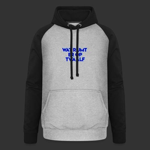 wat rijmt er op twaalf - Unisex baseball hoodie