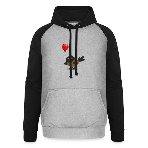 vogeltje met ballon - Unisex baseball hoodie