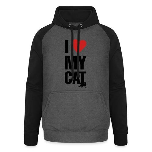 I_LOVE_MY_CAT-png - Sudadera con capucha de béisbol unisex