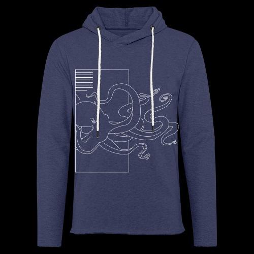 Tintenfisch-Logo Weiss - Leichtes Kapuzensweatshirt Unisex