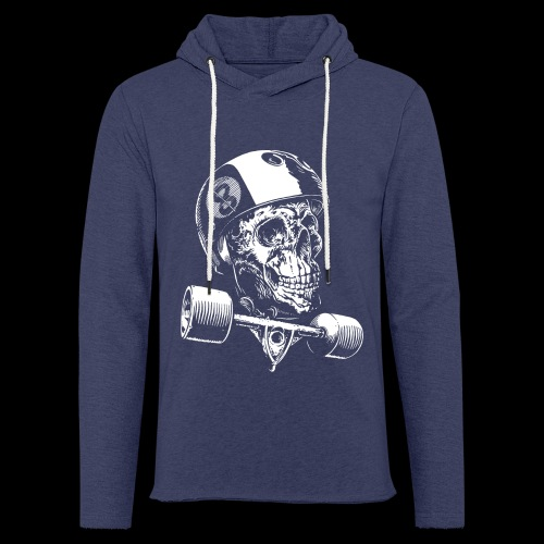 Skull Longboard Rider - negative print - Sweat-shirt à capuche léger unisexe