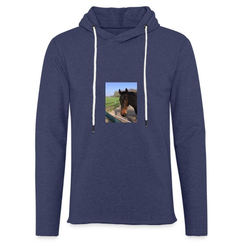 Met bruin paard bedrukt - Lichte hoodie unisex