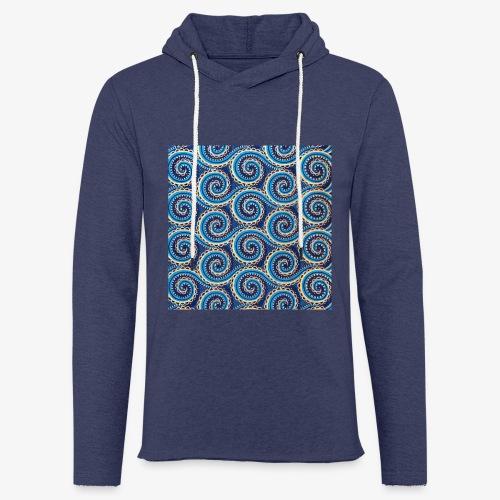 Spirales au motif bleu - Sweat-shirt à capuche léger unisexe