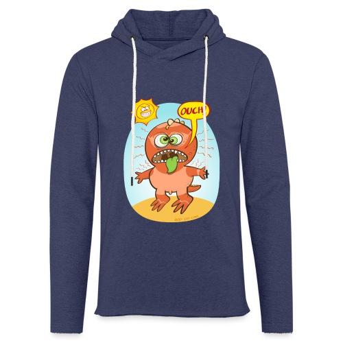 Bad summer sunburn for a funny dinosaur - Light Unisex Sweatshirt Hoodie