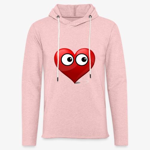 cœur avec yeux - Sweat-shirt à capuche léger unisexe