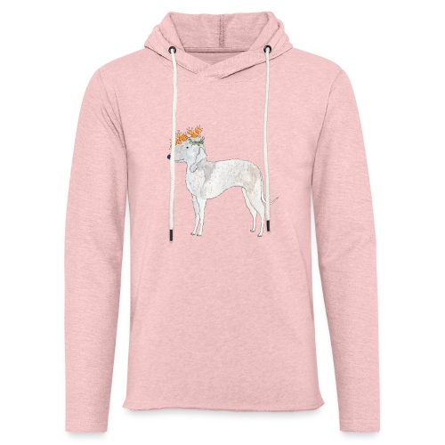 bedlington with flower - Let sweatshirt med hætte, unisex