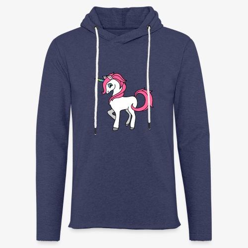 Süsses Einhorn mit rosa Mähne und Regenbogenhorn - Leichtes Kapuzensweatshirt Unisex