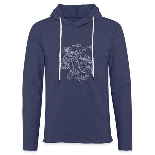 Fantasy hvid scribblesirii - Let sweatshirt med hætte, unisex