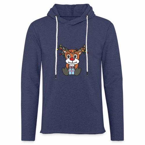 Rentier mit Lichterkette - Leichtes Kapuzensweatshirt Unisex