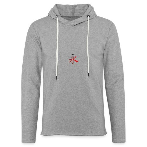 Kinesisk Bogstav Rød/Sort på Brystkassen - Let sweatshirt med hætte, unisex