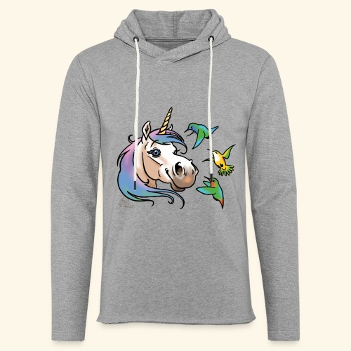 Einhorn und Kolibris - Sweat-shirt à capuche léger unisexe