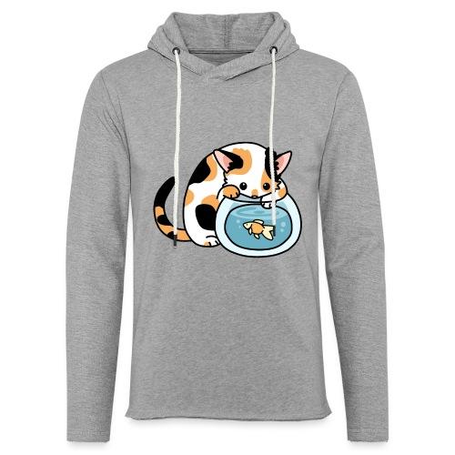 Katze mit Fisch im Glas - Leichtes Kapuzensweatshirt Unisex