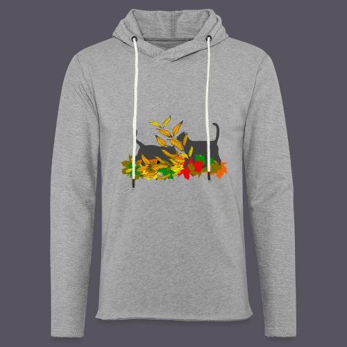 spielende Katzen in bunten Blättern - Leichtes Kapuzensweatshirt Unisex