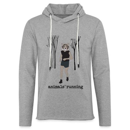 Tigre gris running - Sweat-shirt à capuche léger unisexe