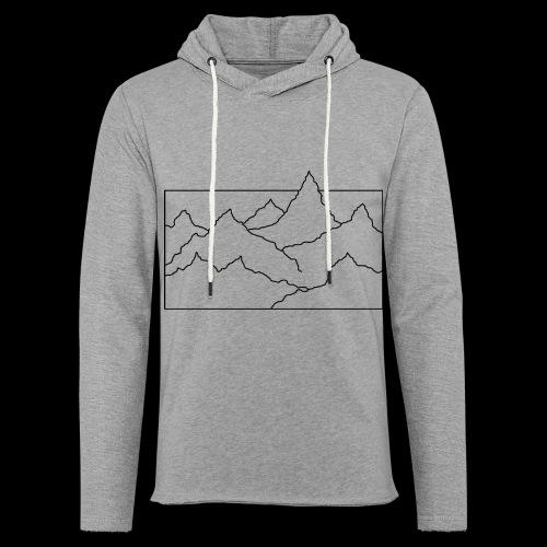 Kontur Gebirge schwarz - Leichtes Kapuzensweatshirt Unisex