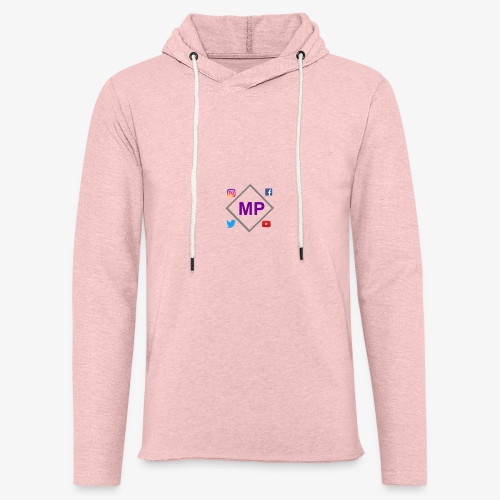 MP logo with social media icons - Light Unisex Sweatshirt Hoodie