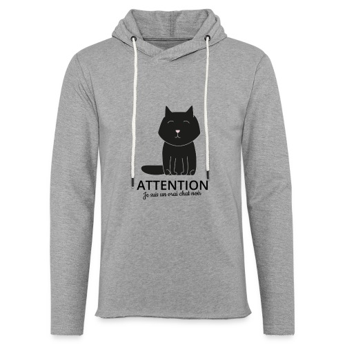 Chat noir - Sweat-shirt à capuche léger unisexe