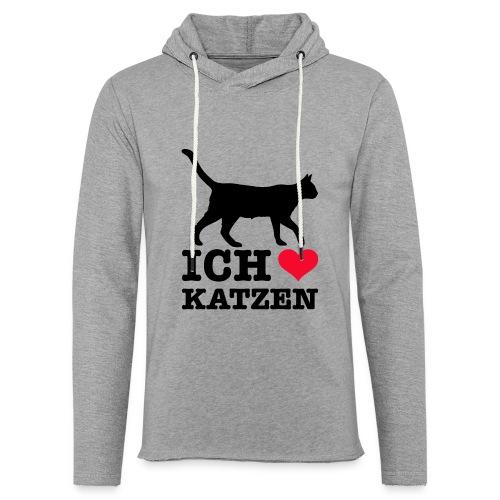 Ich liebe Katzen mit Katzen-Silhouette - Leichtes Kapuzensweatshirt Unisex