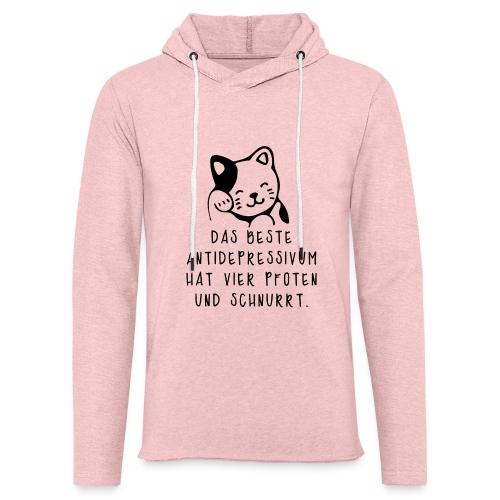 Katzen sind das beste Antidepressivum - Leichtes Kapuzensweatshirt Unisex
