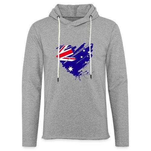 Australien Sydney Kontinent Grunge Herz Fahne - Leichtes Kapuzensweatshirt Unisex