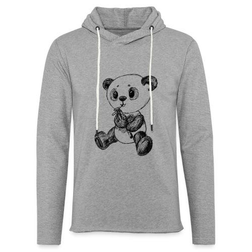Panda bjørn sort scribblesirii - Let sweatshirt med hætte, unisex