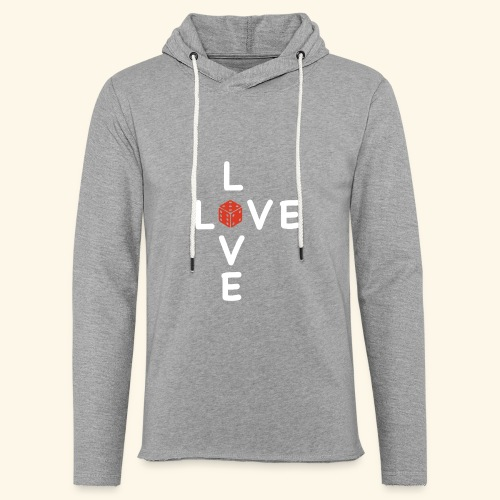 LOVE Cross white wuerfel red 001 - Leichtes Kapuzensweatshirt Unisex