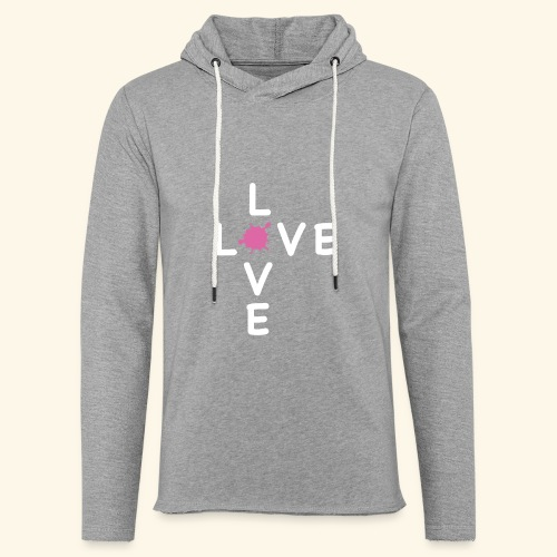 LOVE Cross white klecks pink 001 - Leichtes Kapuzensweatshirt Unisex