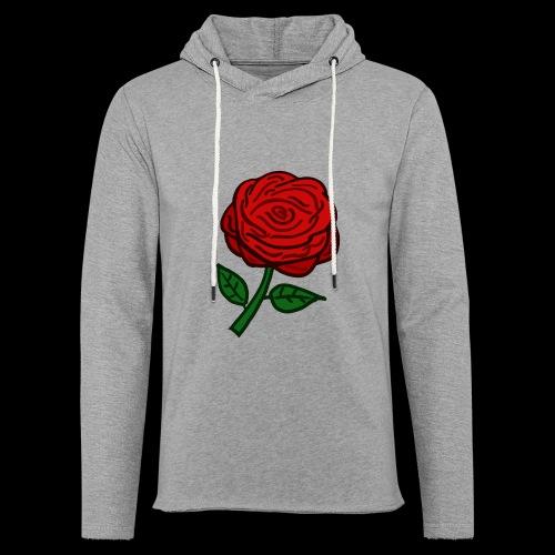 Rote Rose - Leichtes Kapuzensweatshirt Unisex