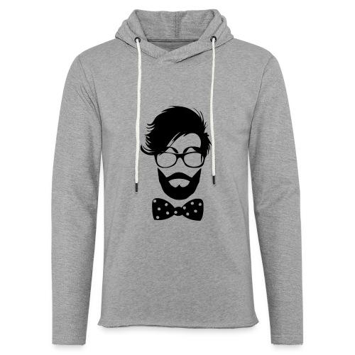 hipster_med_briller_og_butterfly - Let sweatshirt med hætte, unisex