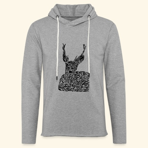 deer black and white - Kevyt unisex-huppari