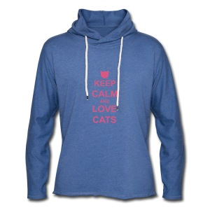 Keep Calm and Love Cats - Pink - Light Unisex Sweatshirt Hoodie