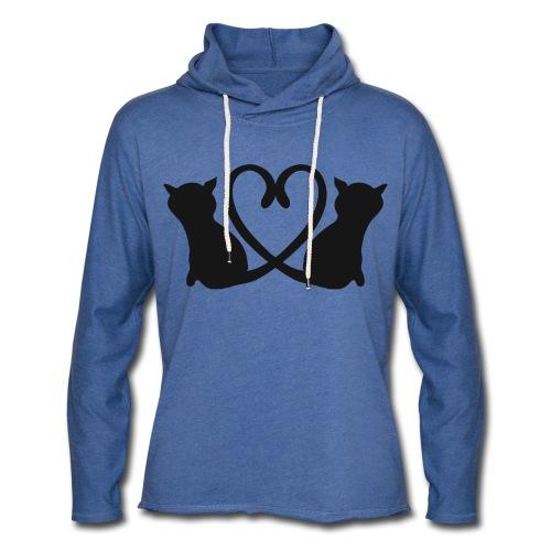 Katzen bilden ein Herz mit ihren Schwänzen - Leichtes Kapuzensweatshirt Unisex
