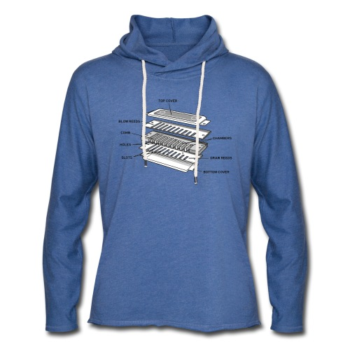 Exploded harmonica - black text - Light Unisex Sweatshirt Hoodie