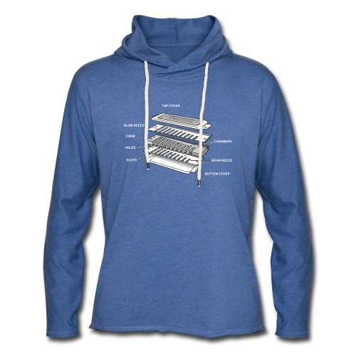 Exploded harmonica - white text - Light Unisex Sweatshirt Hoodie