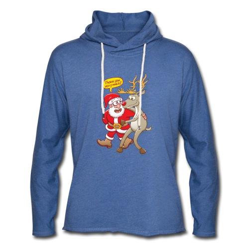 Santa thanks deeply to his red-nosed reindeer - Light Unisex Sweatshirt Hoodie