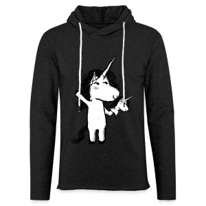Unicorn with his happy friend - Light Unisex Sweatshirt Hoodie