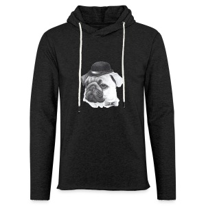 pug with bowler - Let sweatshirt med hætte, unisex
