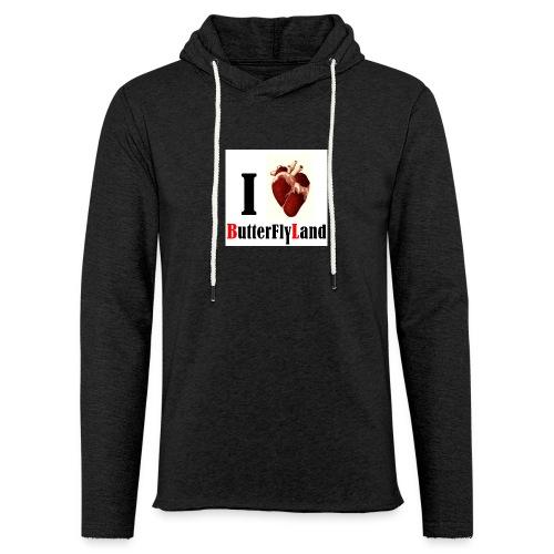 I love Butterflyland - Sweat-shirt à capuche léger unisexe