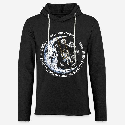 moon astronaut stars space - Leichtes Kapuzensweatshirt Unisex