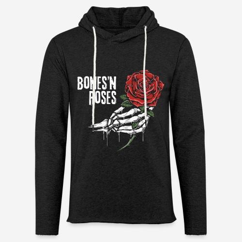Schädelknochen Rosen - Leichtes Kapuzensweatshirt Unisex