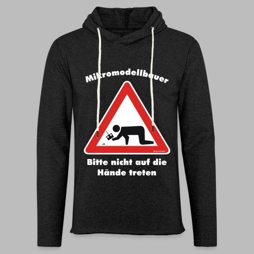 Mikromodell Warnschild Hände - weisse Schrift - Leichtes Kapuzensweatshirt Unisex