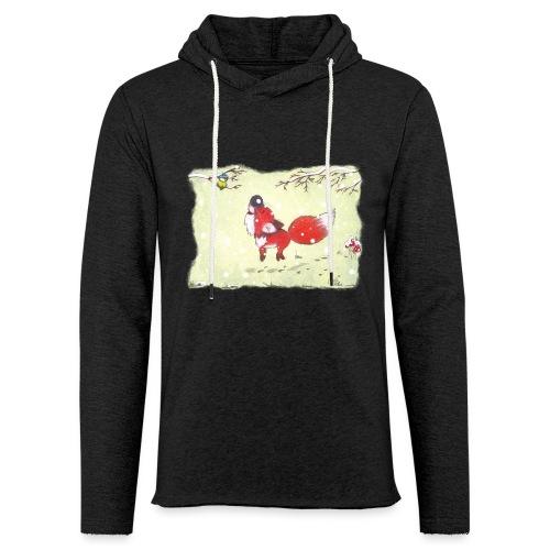 Hopsender Fuchs im Schnee - Leichtes Kapuzensweatshirt Unisex