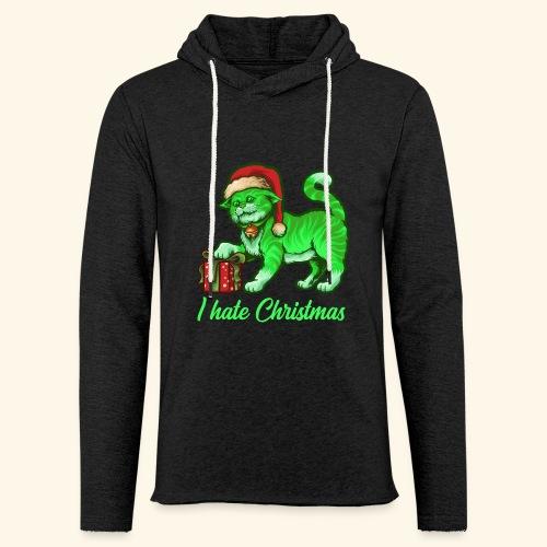 I hate Christmas giftig grüne Weihnachtsmann Katze - Leichtes Kapuzensweatshirt Unisex