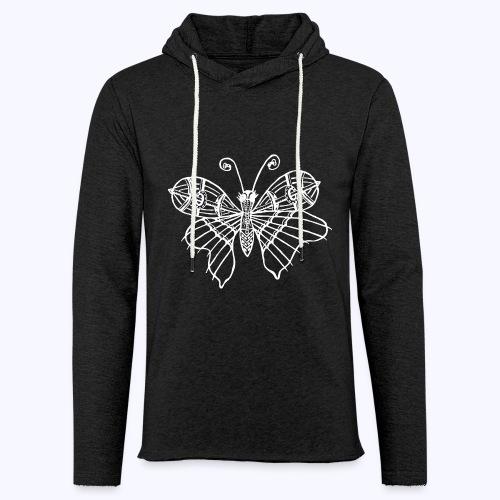 Schmetterling weiss - Leichtes Kapuzensweatshirt Unisex